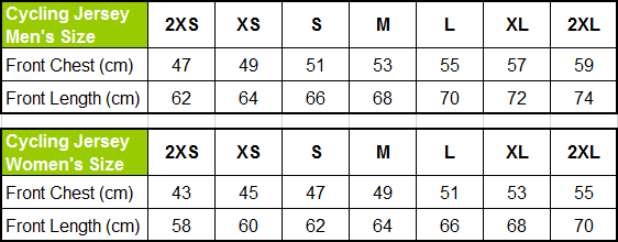 Lovely Creations Jersey Size Chart